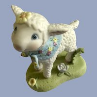 Baby Lamb Amusing Figurine Hallmark Cards 1998 with Flower Scarf