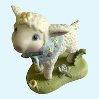 Baby Lamb Amusing Figurine Hallmark Cards 1998 with Flower Scarf