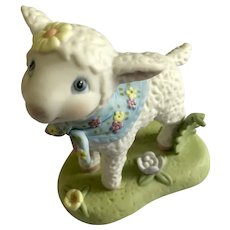 Baby Lamb Figurine Hallmark Cards 1998 with Flower Scarf