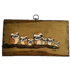 Owls on a Branch Mixed Media Painting on Wood Signed By Artist