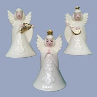 Mid-Century Angel Girls Choir Vintage Figurines Christmas Decorations Ceramic