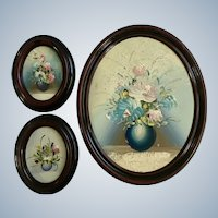 Flower Bouquets Oil Paintings Vintage Floral Oval Set of Three