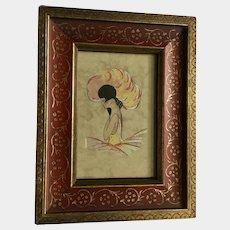 Art Deco Lady Flapper Portrait Lithograph Print Framed Picture
