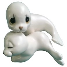 White Harp Seals Mother and Baby Snuggling Animals Ceramic Figurines