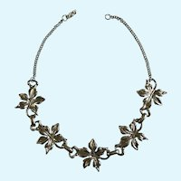 "Silver-Tone Leaf Necklace 13"" Choker"