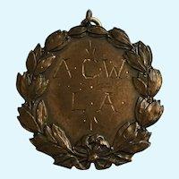 Vintage Weightlifting Award Medallion Pendant A.C.W. L.A. Christmas Dec 25 1925 Richard A Thomas