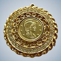 Gold-Tone Medallion Pendant with Centurion Coin Center and Rhinestone Surround Filigree