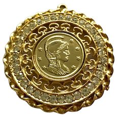 Gold-Tone Medallion Pendant with Centurion Coin Center and Rhinestone Surround Filigree