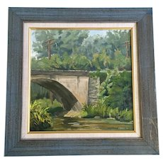 Mark Asmus, Gunpowder Falls at York Road, Maryland Bridge Oil Painting on Wood Signed By Taos Artist