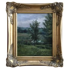 Josephine Hemenway, Rural Landscape Oil Painting Signed by Artist 1896
