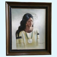 CJ Roman Native American Indian Girl Portrait Original Oil Painting Signed by Artist
