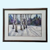 Beatrice (Neff) Trautman Aspen Trees in Snow-covered Field Original Watercolor Painting