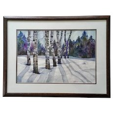 Beatrice (Neff) Trautman Aspen Trees in Snow-covered Field Original Watercolor Painting Signed by Colorado Artist