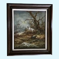 Jack Green, Landscape with a Gun Dog Working Pheasant Birds Oil Painting