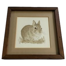 Janet (Jan) Fell, Bunny Rabbit Original Mixed Media Pen and Ink Watercolor Painting Signed by Artist