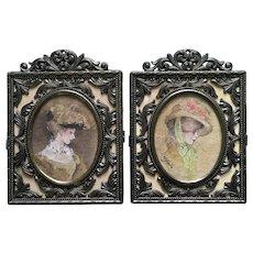 Mavis Rasmussen, Victorian Ladies Portraits Watercolor Paintings Monogrammed By Iowa Artist
