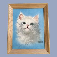 Mid-Century White Cat Lithograph Print Florence Kroger Art