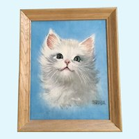 Mid-Century White Cat Lithograph Print Florence Kroger Art