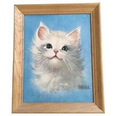 Mid-Century White Cat Kitty Lithograph Print Florence Kroger SM203 11x14 Art