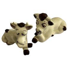 Vintage Walker-Renaker Bull & Cow Figurines California Pottery Ceramic