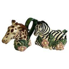 Fitz & Floyd Rain Forest Zebra and Giraffe Creamer and Sugar Bowl Animals FF Rainforest
