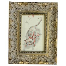 Mid- Century Calico Kitty Cat Fight Vintage Framed Print