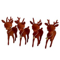 Mid-Century Christmas Reindeer Flocked Red with Gold-tone Bell Figurine Set of 4