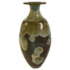 Robert Bennett Studio Art Pottery Vase Svelte with Crystalline Flowers Glaze 1970's Rare
