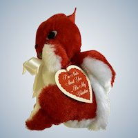 Mid-Century Pride of America Cuddle Toys Squirrel Valentines Day With Original Tag Stuffed Plush Animal