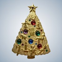 Christmas Tree Brooch Pin with Multicolored Sparkle Rhinestones