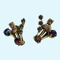 Austrian Crystal Clip-On Earrings Purple, Pink and Blue on Vintage Gold-Tone Settings