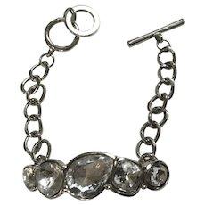 Faux Diamond Rhinestone Bracelet on Silver-Tone Chain