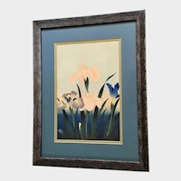 Bakufu Ohno (1888-1976) Iris Japanese Woodblock Print Signed by Listed Artist