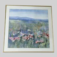 Betty Johnson, Field of Wildflowers Original Watercolor Painting Signed by Artist