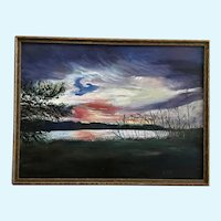 R. Cox, Captivating Sunset Landscape Oil Painting on Canvas Panel Board Signed By Artist