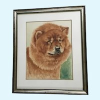 James L. Vlasaty (1898-1987) Chow Dog Portrait Watercolor Painting