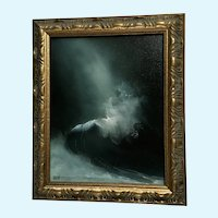 Garvin, Surreal Wave in Storm Seascape Oil Painting Signed by Artist