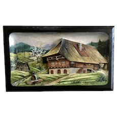 Black Forest Germany Carved Wood Picture 3D Relief Vintage Handmade Painting