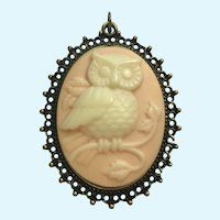 Owl Faux Cameo Pendant Pink, White and Bronze Colored