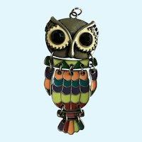Owl Pendant Pewter and Enamel with Black Rhinestone Eyes