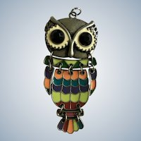 Owl Pendant Pewter and Enamel with Black Rhinestone Eyes