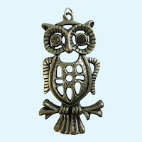 Pewter Owl Pendant with Rhinestone Eyes
