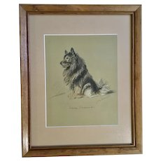Lucy Dawson, Keeshond Dog Named Johnnie Framed Print from the Book, Dogs Rough And Smooth 1940's