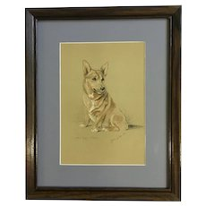 Lucy Dawson, Welsh Corgi Dog Named Hoppy Framed Print from the Book, Dogs Rough And Smooth 1940's