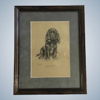 Lucy Dawson, Cocker Spaniel Named Susan Framed Print from the Book, Dogs Rough And Smooth 1940's