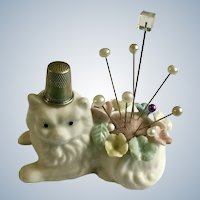 Ardalt Cat Sewing Pin Cushion and Thimble Holder Figurine with Flowers and Stickpins