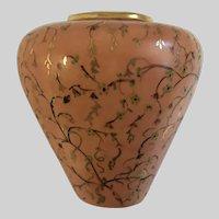 Mid-Century Peach Floral Vase Hand Painted Gold-Tone Swirl Vines Motif
