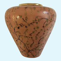 Mid-Century Peach Floral Vase Hand Painted Gold-Tone Swirl Vines Motif