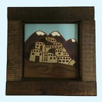 Territorial Southwest Santa Fe Tile Art Wall 1976 Stoneware Ceramic Pottery