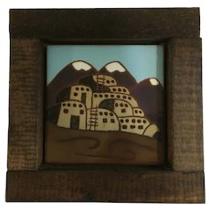 Territorial Southwest Santa Fe Tile Art Wall Hanging Rustic Wood Frame 1976 Stoneware Ceramic Pottery